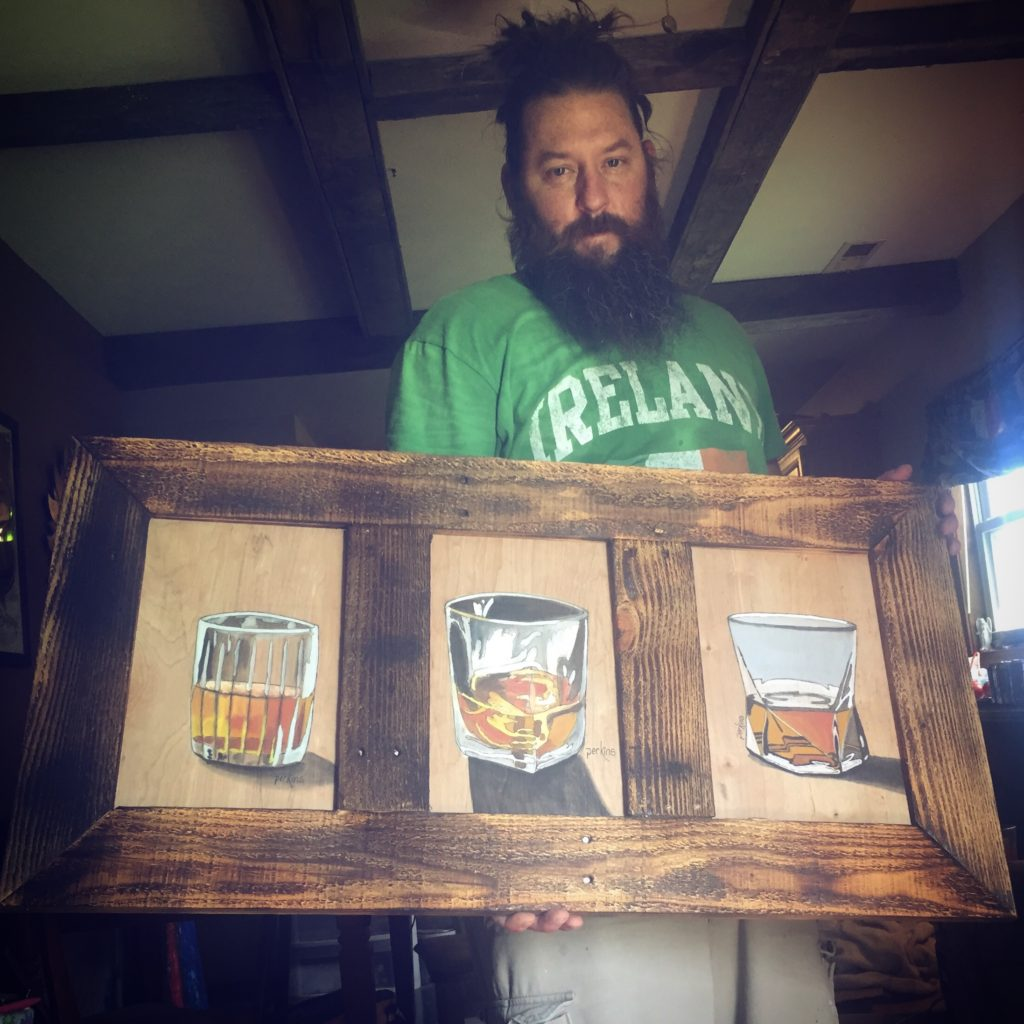 whiskey glasses acrylic on reclaimed wood charred pallet wood framed